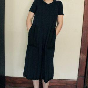 COS long navy dress   black pockets   size medium
